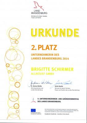 Urkunde_Unternehmerin_Brandenburg2014