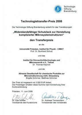 Urkunde Technologietransferpreis 2008