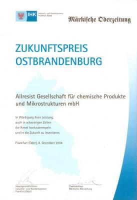Urkunde Zukunftspreis 2004